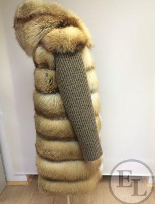 Шуба из рыжей лисы, рукава из шерсти - 2