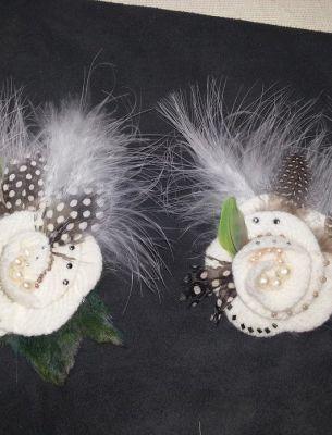 Меховая брошка-цветок