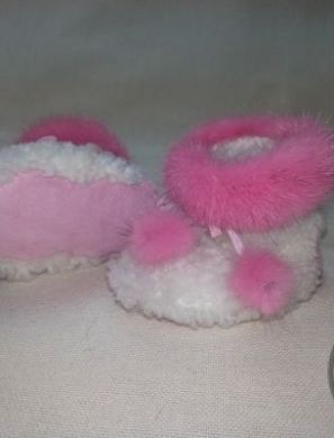 Пинетки детские c розовым мехом - 1