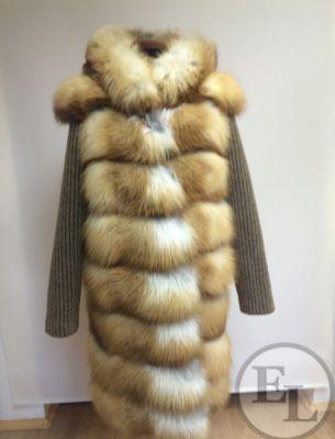 Шуба из рыжей лисы, рукава из шерсти - 3