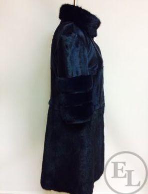 Пошив шубы из норки и темно-синей каракульчи - 2