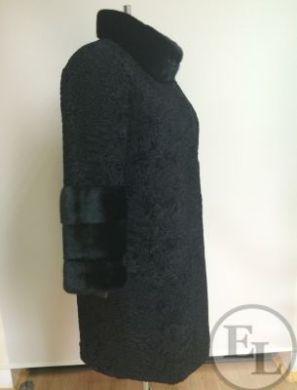 Шуба из черной свакары с отделкой из черной норки - 2