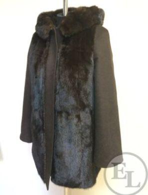 Облегченное пальто, перешив из норковой шубы - 3